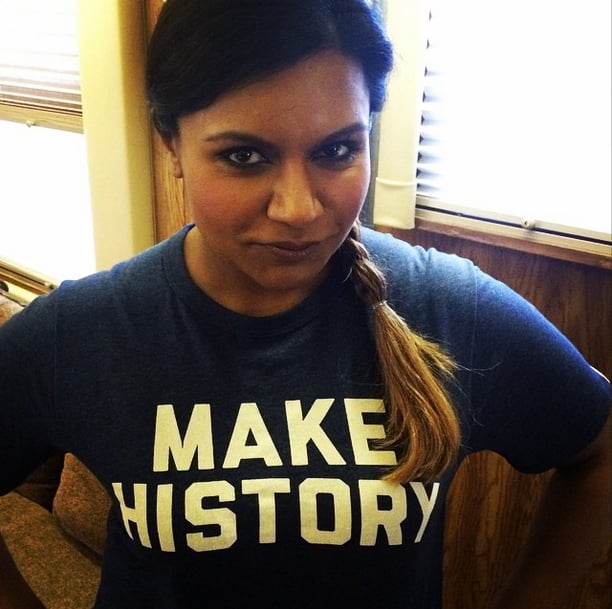 "The Mindy Project's Mindy Kaling is ""up and at 'em"" in her Under Armour shirt."