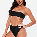 Missguided Black Bandeau Bikini