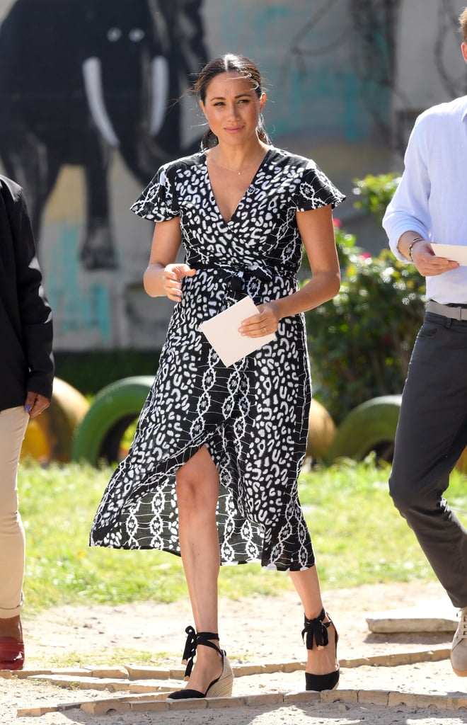 Meghan Markle Wearing an Evil Eye Necklace and Patterned Dress