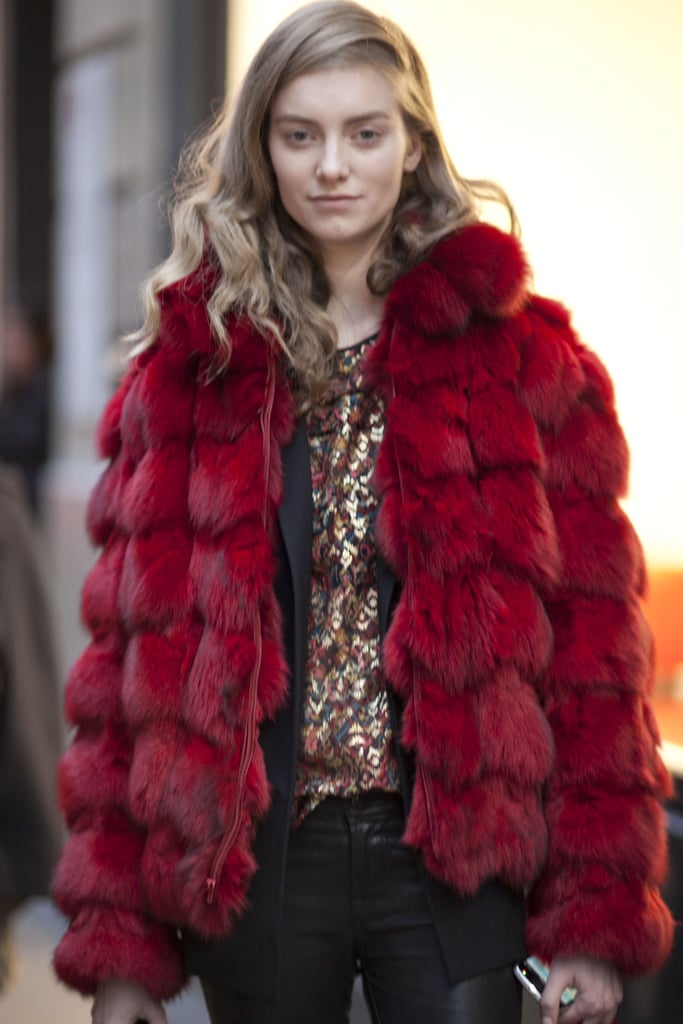 The brilliant coat and metallic top were an expert pairing in this ensemble.