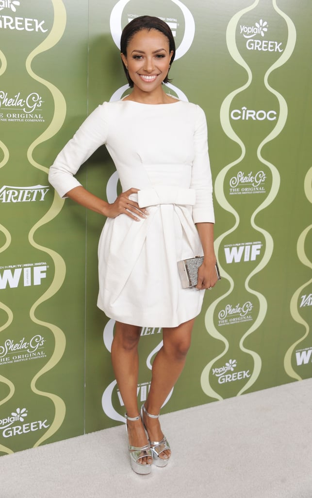 Kat Graham was crisp in all white — accented with silver metallic accessories — at the Variety and Women in Film pre-Emmys event in LA.