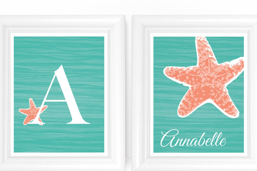 Go tropical with an under the sea art set ($30) that features her name and initial.