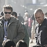 Damon with director Neill Blomkamp on the set of Elysium.