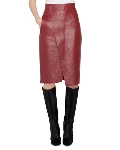 Akris Front-Wrap Pebble Deer Leather Skirt ($2,390)