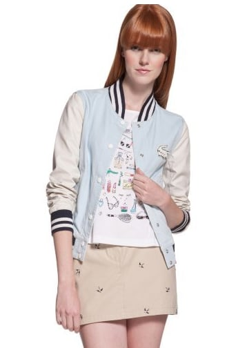 A striped collared varsity jacket perfect for pairing with floral dresses and tees.  Lacoste L!ve Denim Tipped Bomber Jacket ($195)