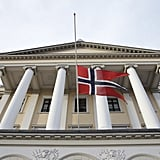 In Norway, a flag stood at half mast.