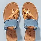 Cocobelle Frayed Denim Slide Sandals