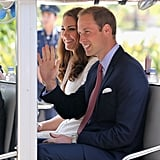 Kate Middleton and Prince William enjoyed themselves while riding in a golf cart through the Gardens by the Bay.