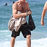 Hugh Jackman had a good time swimming in the ocean.