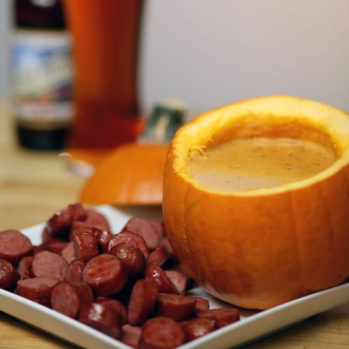 Recipes using beer video popsugar food cheddar beer and pumpkin dip forumfinder Image collections