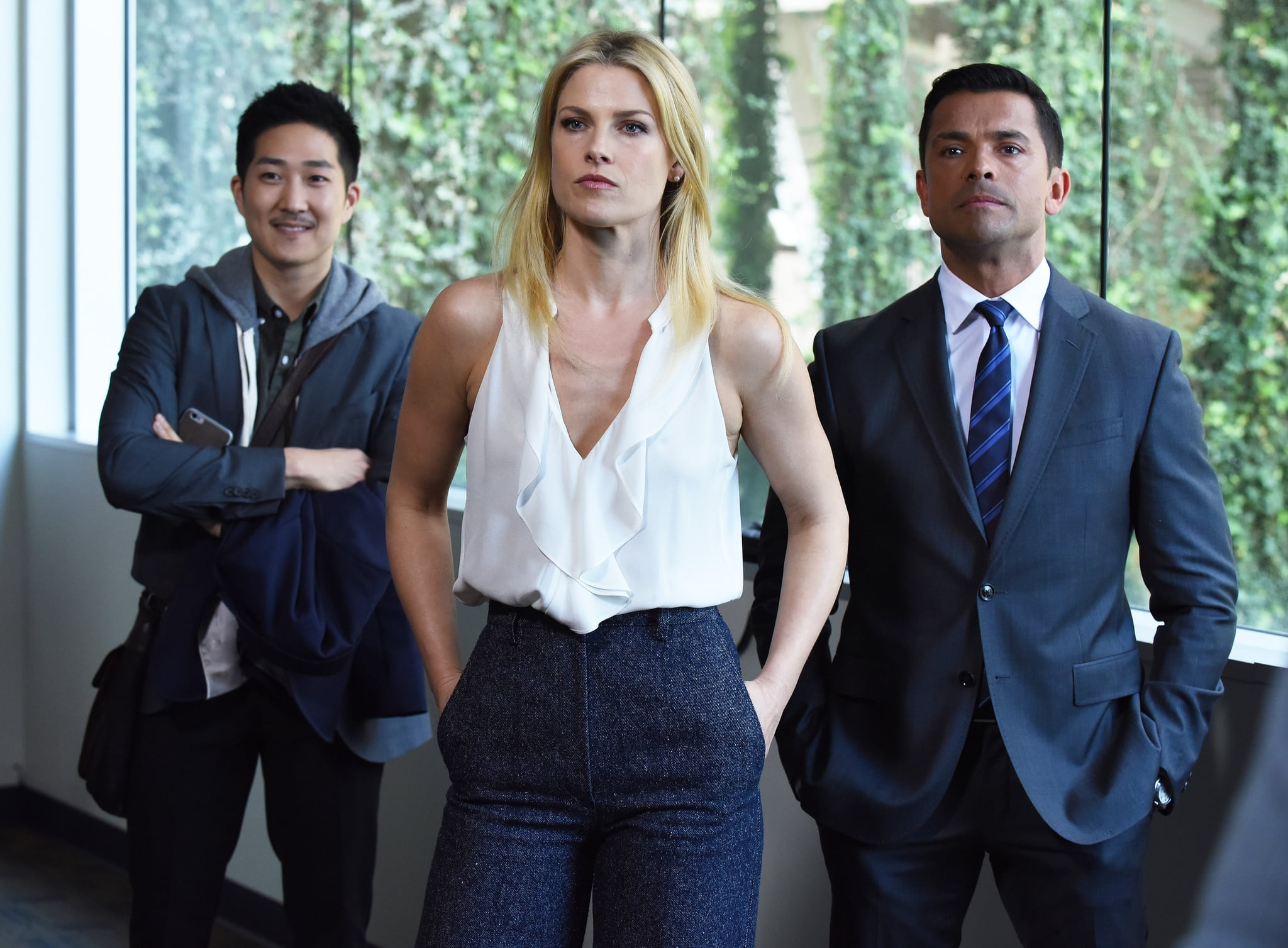 PITCH, l-r: Tim Jo, Ali Larter, Mark Consuelos in 'Pilot' (Season 1, Episode 1, aired September 22, 2016). Fox/courtesy Everett Collection