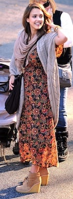 Jessica Alba in Autumn Cashmere Sweater and Tory Burch Wedges