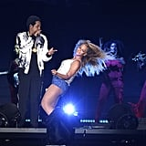 "Beyoncé danced in front of her man during their concert performance of ""Crazy in Love"" in August 2018."