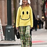 Winter Outfit Idea: A Quirky Sweater and Printed Pants