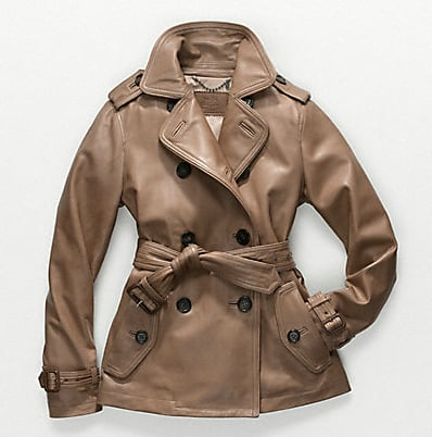 This leather version would become a wardrobe classic; we imagine it would look even cooler worn in.  Coach Alexis Leather Trench ($1,198)