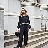 Affordable & Festive Outfit Formula: Jumpsuit + Belt + Heels + Bag + Jewelry