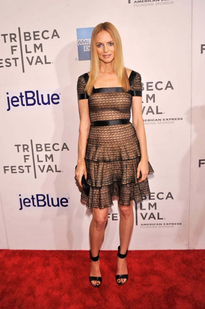 Heather Graham stepped out at the At Any Price premiere in a cap-sleeved — and ruffled — cocktail dress, complete with black lace netting and sleek black ankle-strap sandals.