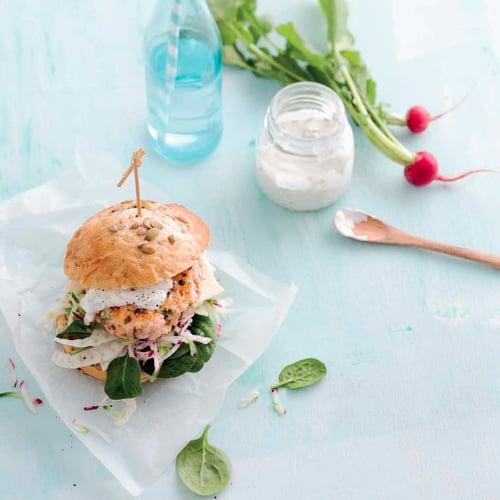 Fish Burger With Caper Yogurt