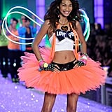Chanel Iman had the biggest smile on the runway.