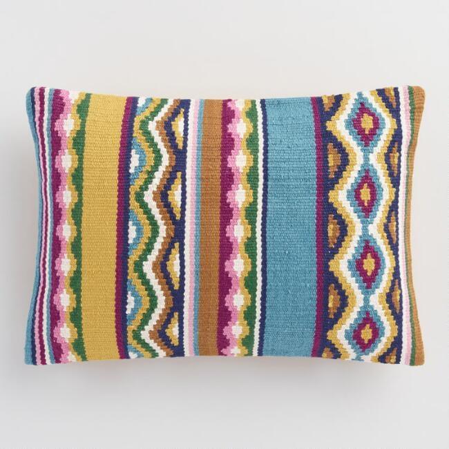 Multicolored Catalina Stripe Indoor Outdoor Throw Pillow