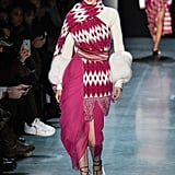 Gigi wore a pink ensemble on the Prabal Gurung runway.