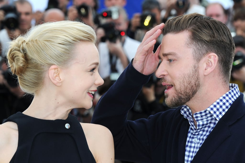 Carey Mulligan made sure her co-star Justin's hair looked a-okay at the Inside Llewyn Davis photocall at Cannes in 2013.