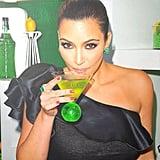 Kim Kardashian drank her signature green drink, Midori. Source: Instagram user kimkardashian