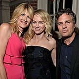 Laura Dern, Naomi Watts, and Mark Ruffalo huddled together for a group picture at the InStyle and Hollywood Foreign Press Association's event.