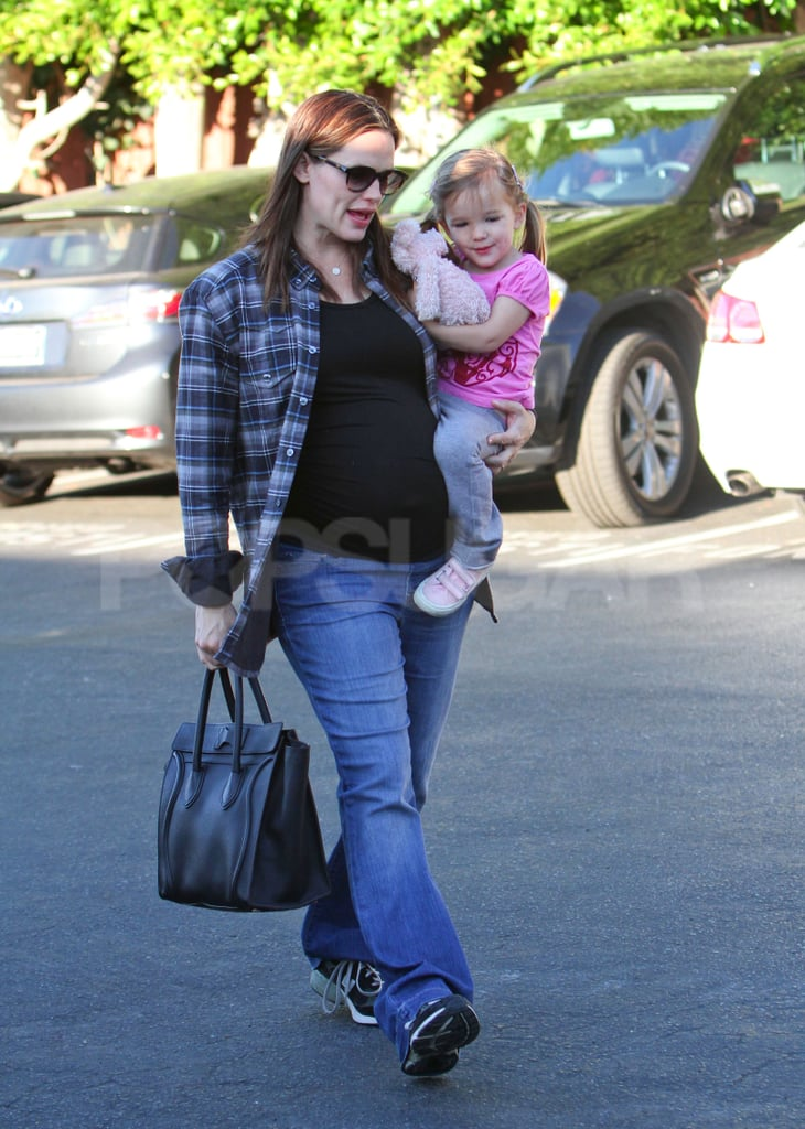 Jennifer Garner picked up Seraphina for a breakfast date in Santa Monica this morning. They also ate out together yesterday, when Seraphina wore a shirt with Ben Affleck featured on the front, and Jennifer covered her baby bump in a gray sweater and black skirt. The girls have been constant companions lately as Jennifer awaits the arrival of her third child. The family of four will become five sometime in the weeks to come, but before they welcome their newest member, the Garner-Afflecks will celebrate Seraphina's third birthday tomorrow.  It's been a fun few weeks for Jennifer, Ben, and their kids since they spent the holidays together in LA. Ben shaved the beard that he sported for his role in Argo, and showed off the new look during a walk with Jennifer in late December.