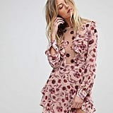 For Love & Lemons Floral Plunge Mini Dress