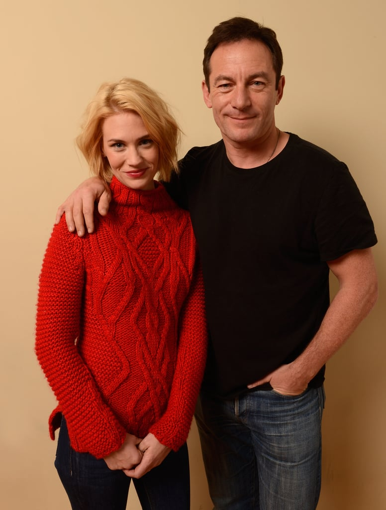 January Jones and Jason Isaacs posed for a portrait together at the Sundance Film Festival on Wednesday.