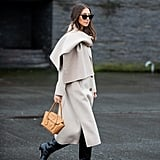 The Knee-High Boot Outfit: A Classic Coat + Scarf + Structured Bag