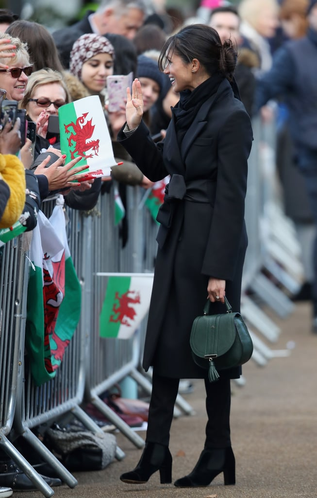 Meghan Markle Carrying A Demellier Mini Venice Leather Bag In Forest