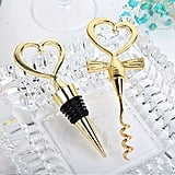 Bride and Groom Heart Wine Stopper and Corkscrew Set