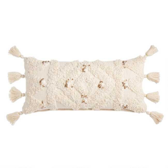 Ivory Moroccan Blanket Lumbar Pillow