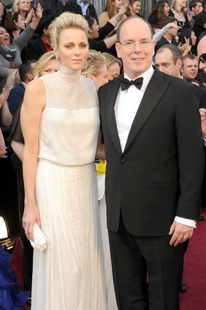 The Princess of Monaco in a white gown at the Oscars.