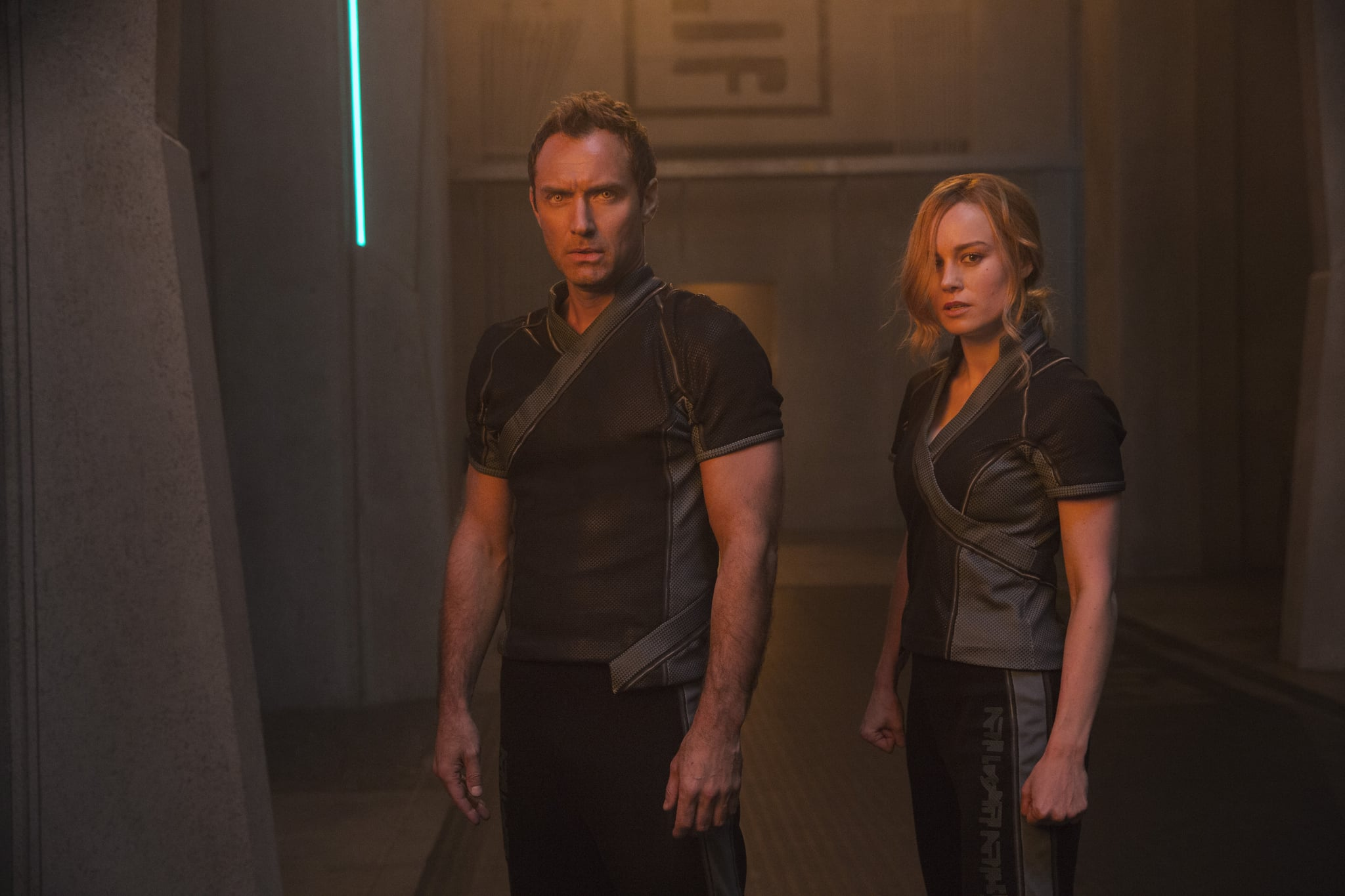Marvel Studios' CAPTAIN MARVEL..L to R: Leader of Starforce (Jude Law) and Carol Danvers/Captain Marvel (Brie Larson)..Photo: Chuck Zlotnick..©Marvel Studios 2019