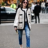 With White V Shoes and Textured Outerwear