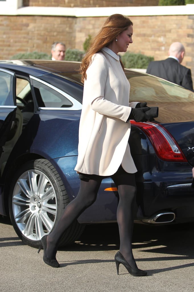 Kate Middleton donned a white jacket.