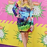 Fergie made sure her maternity wardrobe wasn't boring by slipping into a bodycon Mary Katrantzou fishbowl dress for the 2013 Kids' Choice Awards.