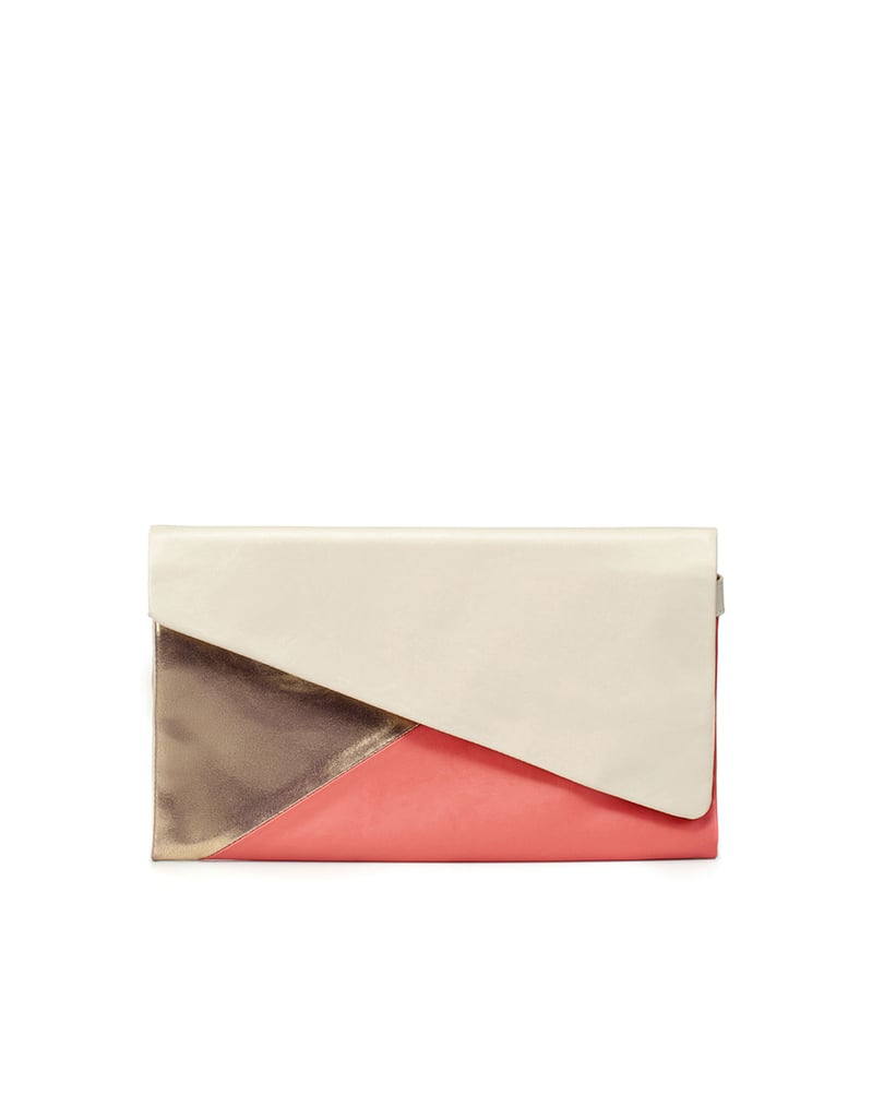 Dress up your little white dress with this cool colorblock clutch.  Zara Tri-Color Clutch ($36)