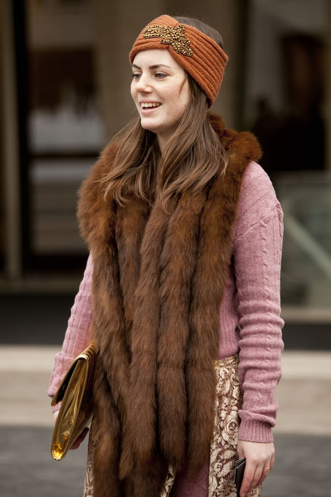 When temperatures dip, make like this knitted turban-wearer and keep warm in an embellished headpiece.
