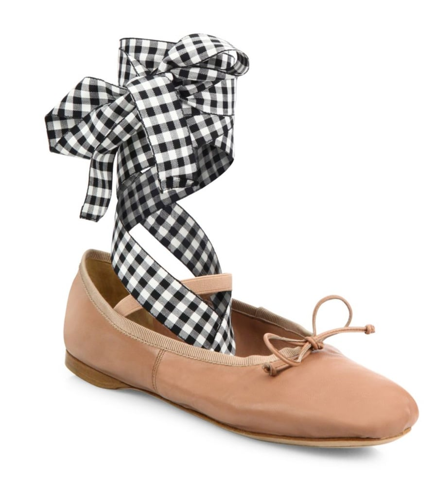 Miu Miu Leather Lace-Up Ballet Flats ($550)