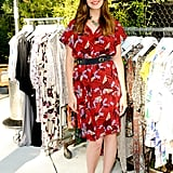 Mandy Moore added flair to her floral dress with a pair of printed wedges.