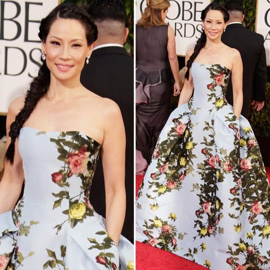 Lucy Liu in floral Carolina Herrera at 2013 Golden Globes
