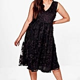 boohoo Plus Anne Embroidered Lace Midi Skater Dress