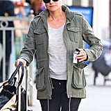 Diane Kruger had a ring on her left ring finger as she wheeled her suitcase out of her hotel.