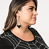 Black Leather Bat Dangle Earrings