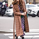 Wear a Brown Checkered Coat Over a Printed Dress