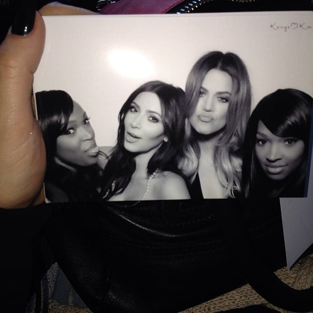 Khloé took a photo of her photo booth moment with Kim and their girlfriends. Source: Instagram user khloekardashian